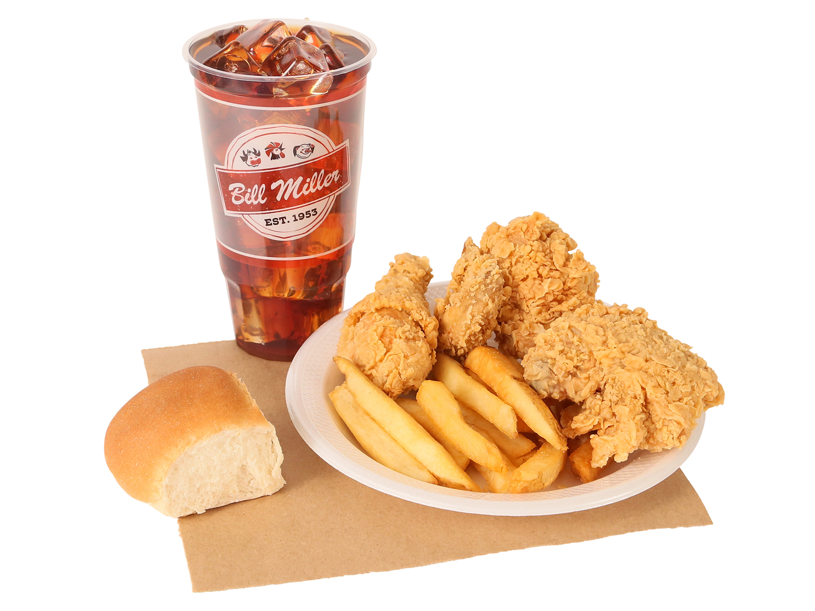 3 PC. fried chicken served with french fries, dinner roll & large tea