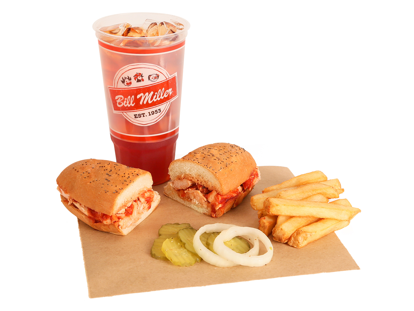 Bar-B-Q Chicken Sandwich served with french fries, BBQ sauce, pickles, onions, & large tea