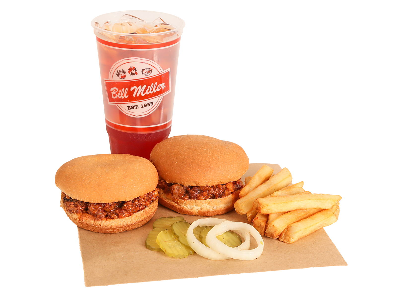 Two Chopped BBQ Sandwiches served with french fries, pickles, onions, & large tea