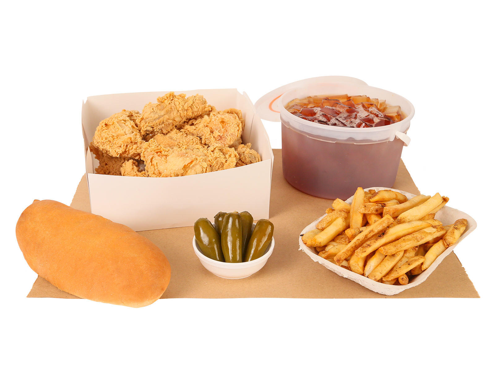 10 PC. Fried Chicken served with french fries, five jalapenos, french loaf, & bucket of tea