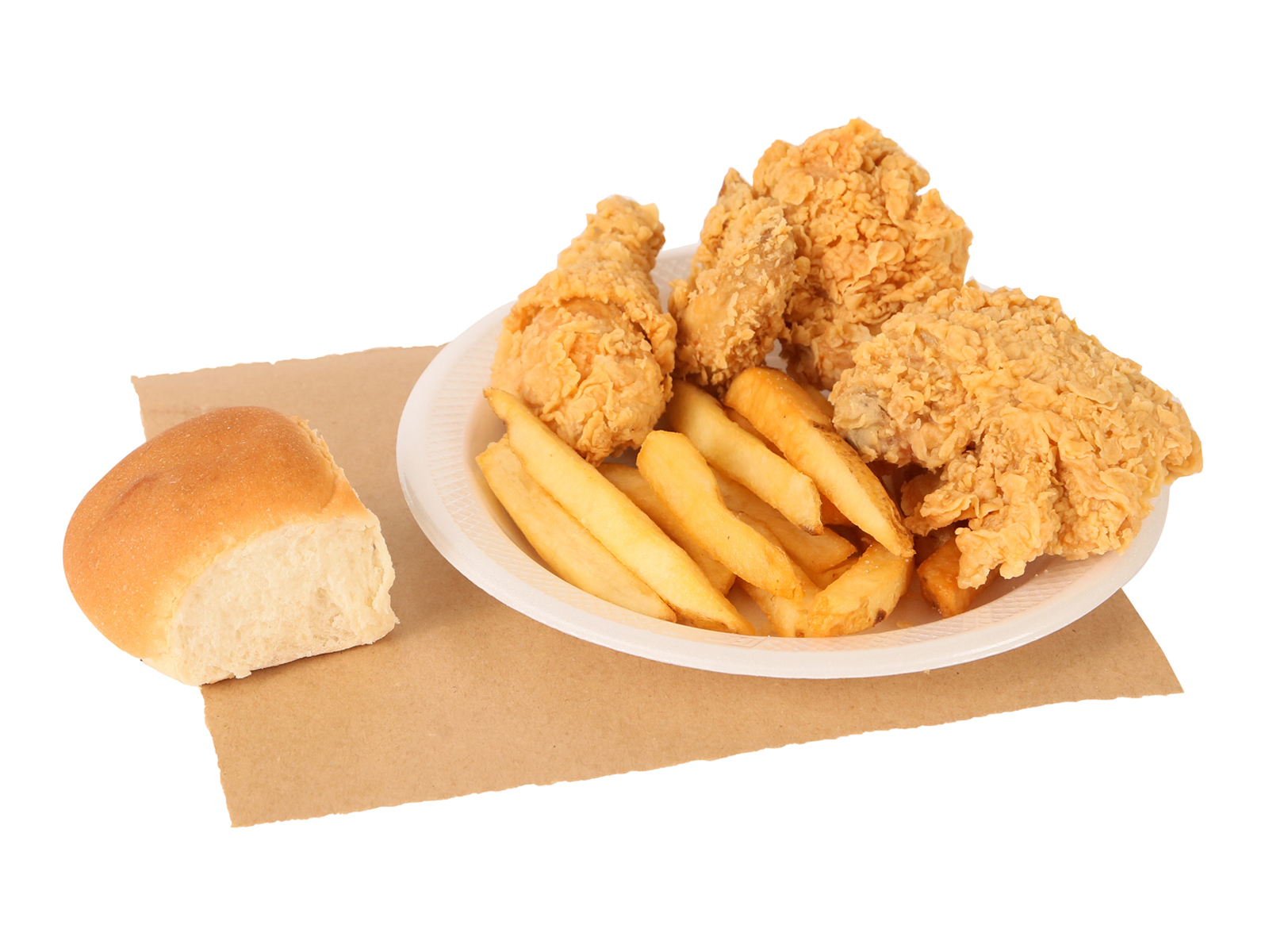 3 PC. Fried Chicken our choice served with french fries & dinner roll