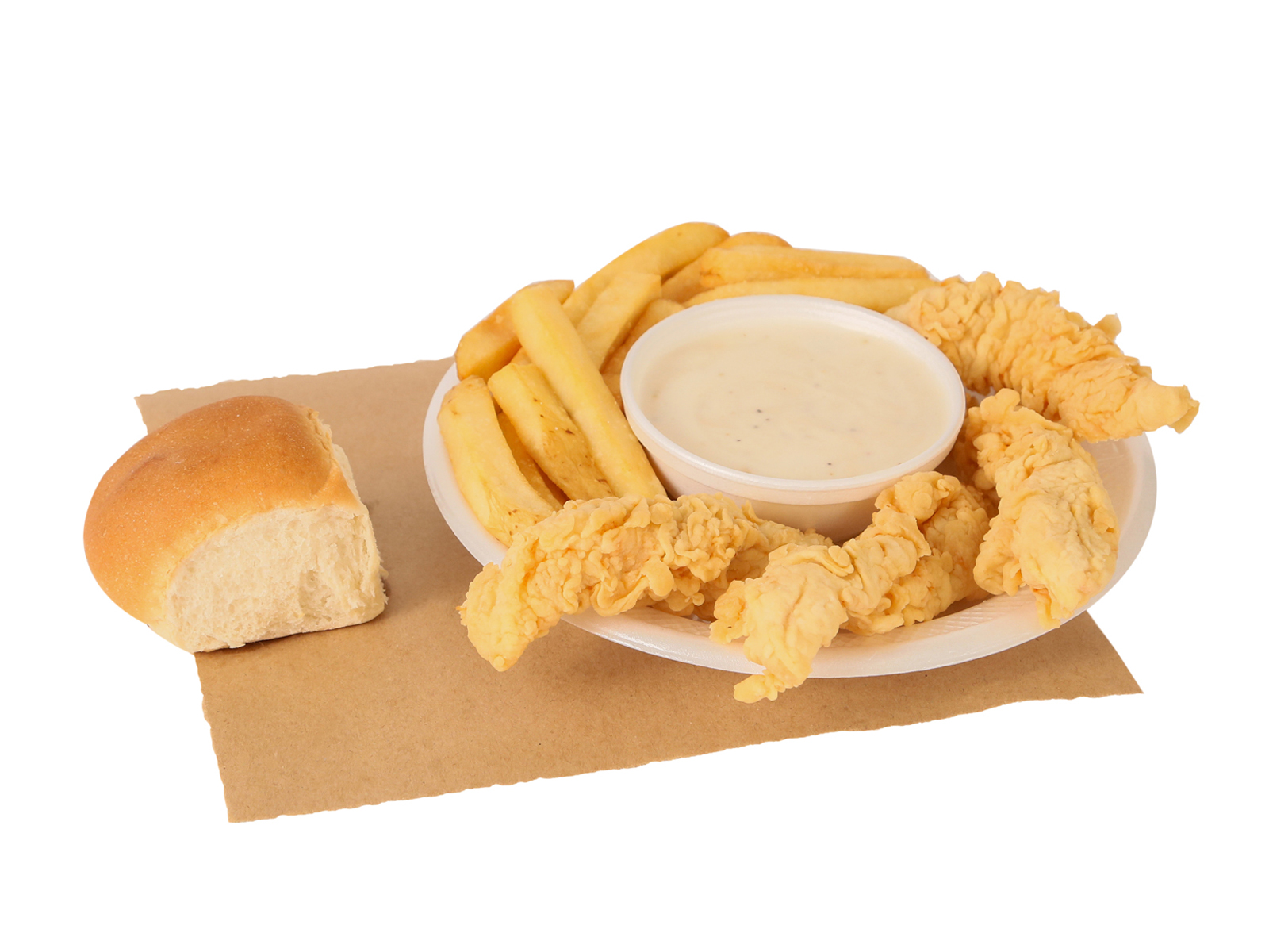 4 PC. chicken breast tenders served with french fries, gravy, & dinner roll