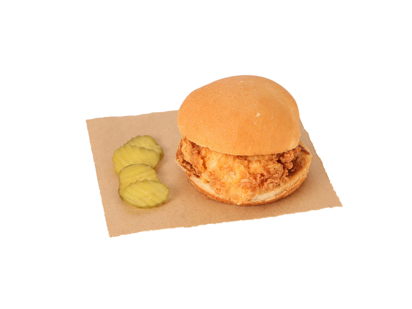 crispy chicken sandwich served with pickles