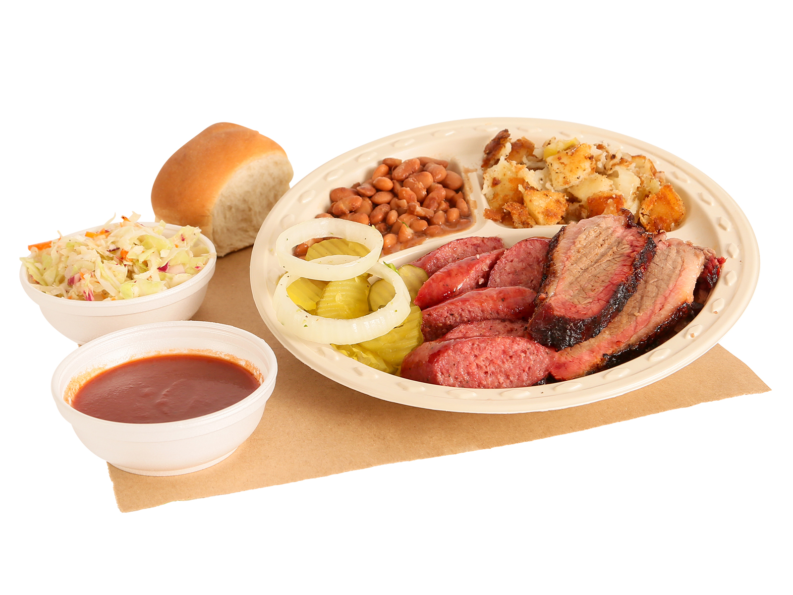 BBQ Rancher Plate served with brisket, sausage, pinto beans, hashbrowns, coleslaw, dinner roll, BBQ sauce, pickles & onions