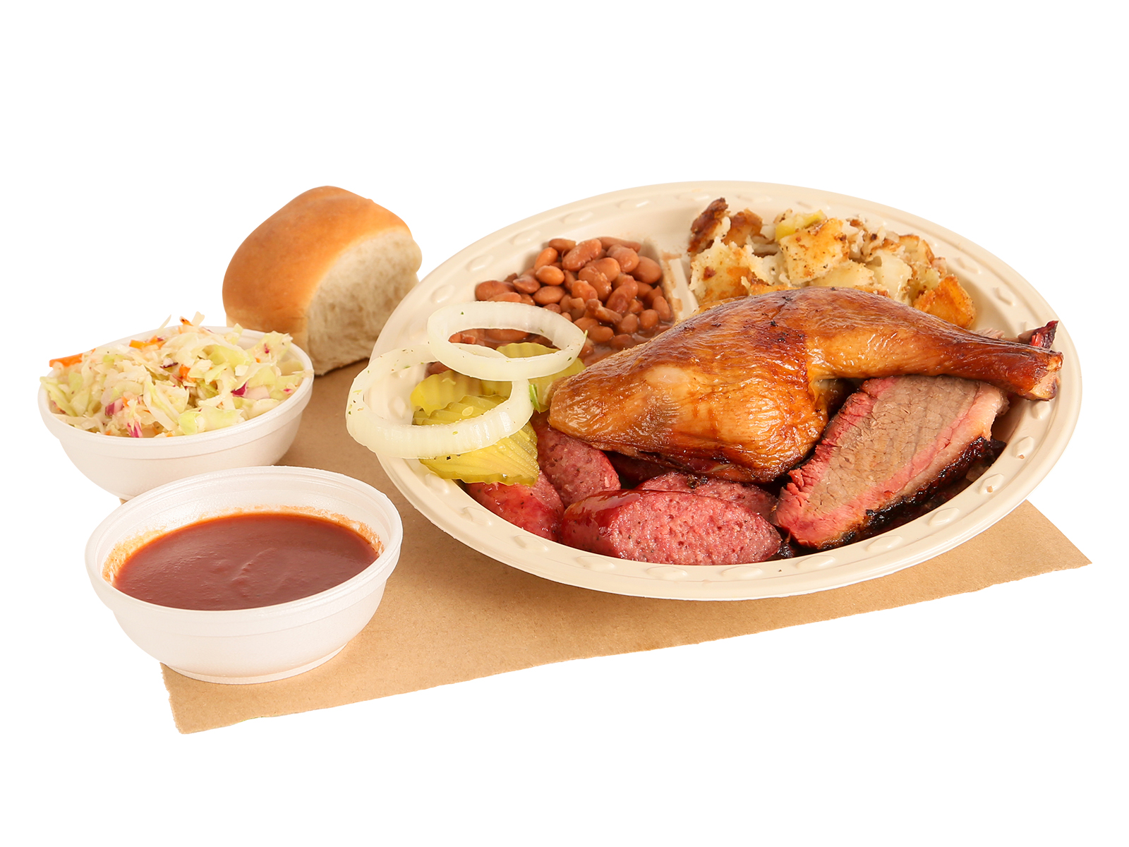BBQ Rodeo Plate served with brisket, BBQ chicken, sausage, pinto beans, hashbrowns, coleslaw, dinner roll, BBQ sauce, pickles, & onions